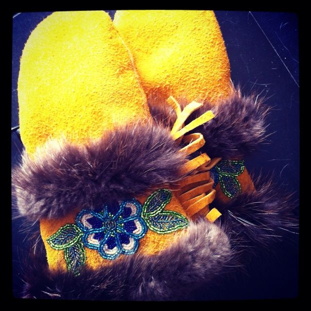 handmade moose hide mitts | handmade moose hide mitts with beaver fur and beading. made by yukon ...
