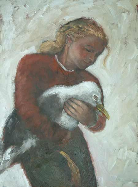 Girl rescuing a seagull