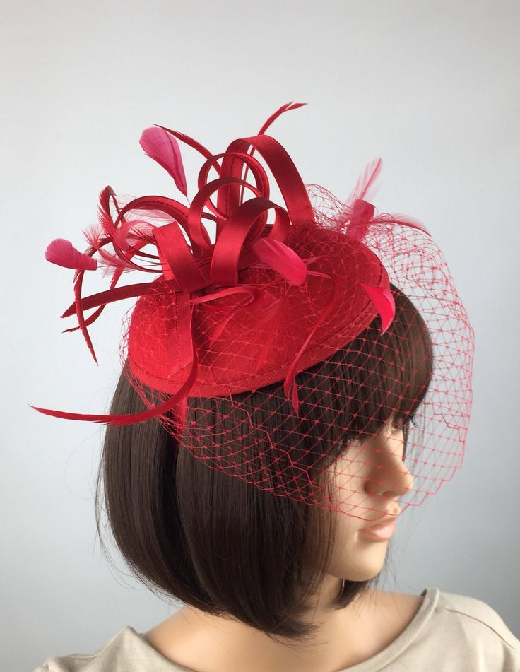 Excited to share the latest addition to my #etsy shop: Red Wedding Hat Red Fascinator Hatinator with birdcage veil netting for Races weddings parties occasion on a hairband #weddings #accessories #red #redhatinator #redhat #pillboxhat #buttonfascinator #weddinghat