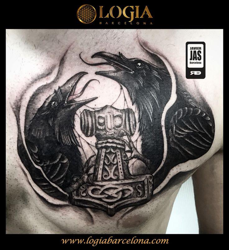 Φ Artist JAVIER JAS Φ  Info & Citas: (+34) 93 2506168 - Email: Info@logiabarcelona.com  #logiabarcelona #logiatattoo #tatuajes #tattoo #tattooink #tattoolife #tattoospain #tattooworld #tattoobarcelona #ink #arttattoo #artisttattoo #inked #instattoo #inktattoo #tattoocolor #dotwork #puntillismo #tattooart #tattooist #tattoolife #ink #inkaddict #realism #realismo #thor #cuervos #mitologia #vikings #vikingos