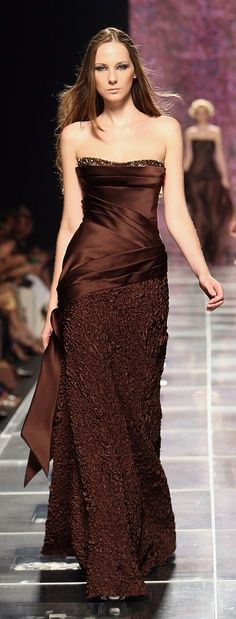 lovely chocolate brown evening party cocktail dress gown by Tony Ward