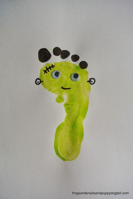 Frankenstein Footprint and Handprint Art- classic Halloween crafts for kids