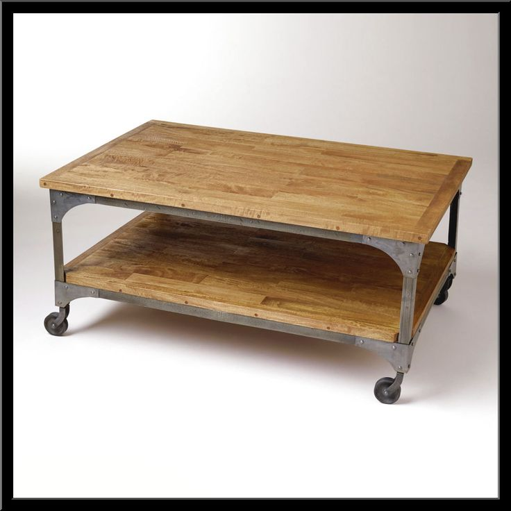 square coffee table metal and wood