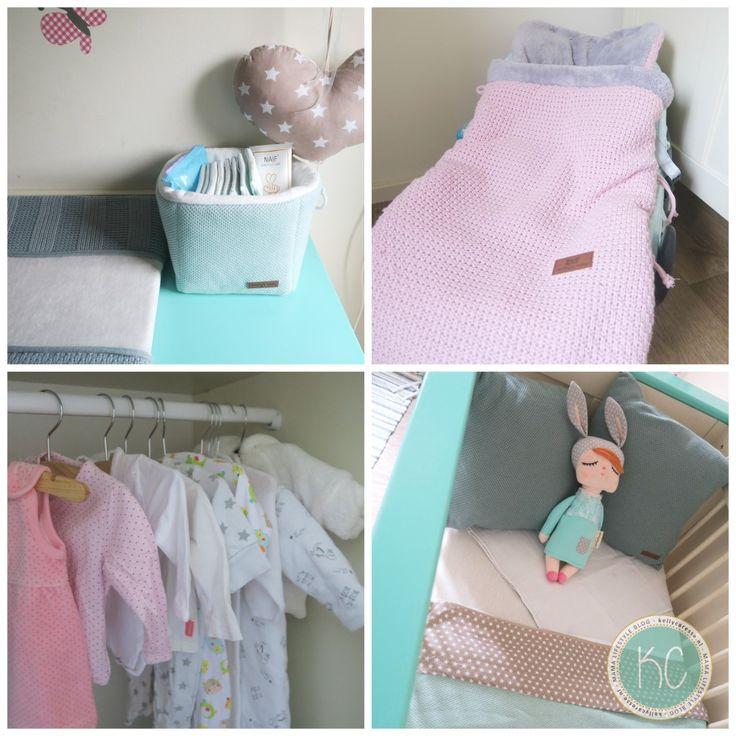 Binnenkijken babykamer met mintgroene, roze en pastel tinten. Babysonly accessoires en meer leuke interieur spulletjes van de baby uitzet. Spiek je mee?