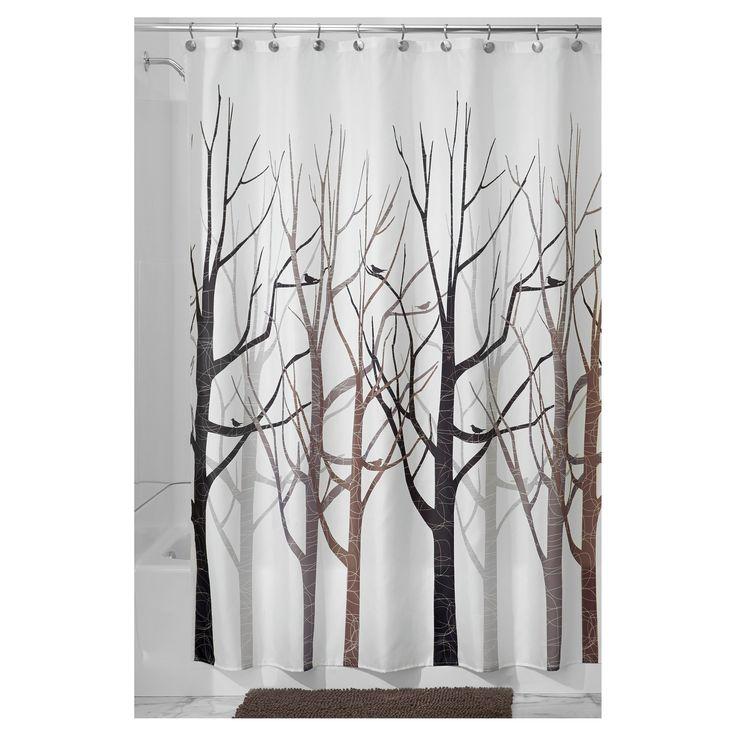 InterDesign Forest (Green) Shower Curtains   Gray/Black