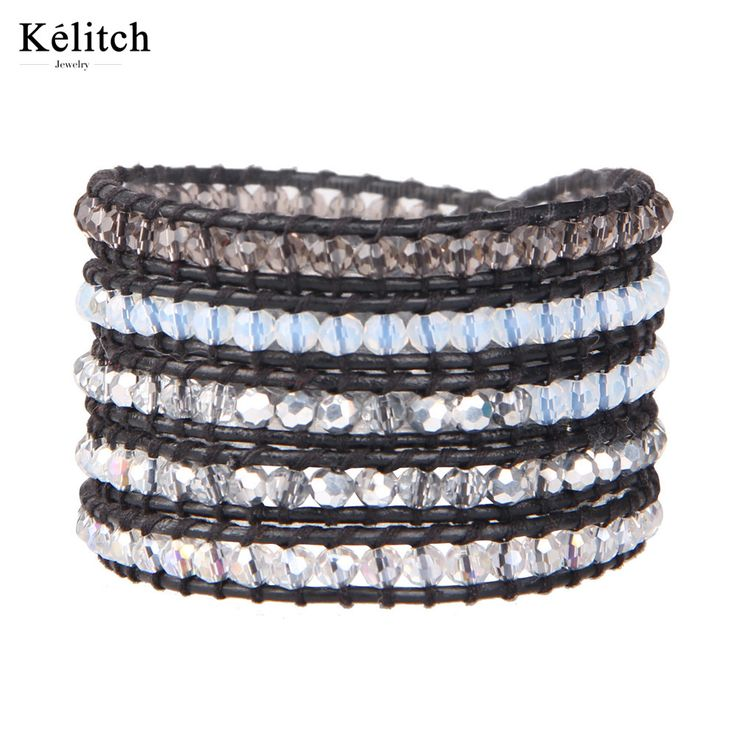 Kelitch China Jewelry 1Pcs Black Genuine Leather Transparent White Crystal Beaded Wrap Multilayers Beads Bracelets For Gifts