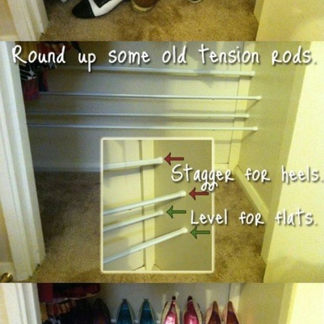 Diy Shoe Rack Hmmm Also Use Small Tension Rod In