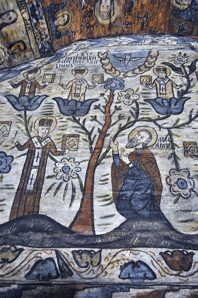 Biserica de lemn din Deseşti, judeţul Maramureş - Arborele patriarhilor din viaţa lui Avraam (detaliu)