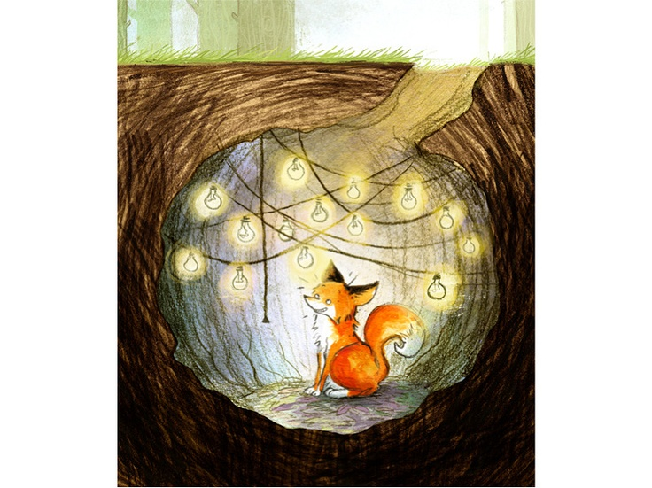 A red fox snuggled into a cozy den. Even foxes love twinkle lights! Art by Jamie Littler