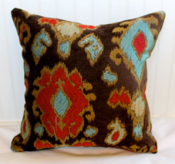 Brown Red Turquoise And Tan Ikat Pillow Cover Designer Etsy