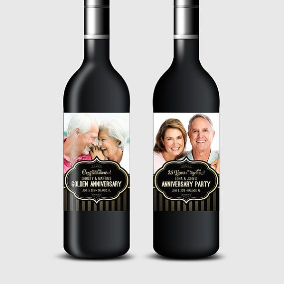 Photo Wine Bottle Labels for Anniversary or Wedding Party, Customized - Black & Gold - Printable PDF, DIY Print