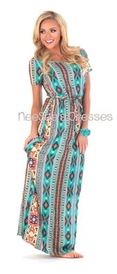 Mocha & Teal Aztec Tie Waist Maxi Dress, Vintage Dress, Church Dresses, modest dress, trendy modest dresses, dresses for church, aztec maxi ...