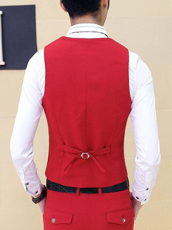 Color Block Slim Vogue Men's Suit - Red