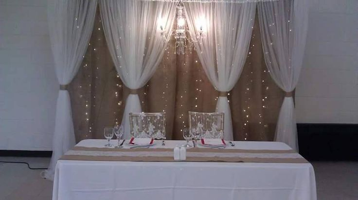 Burlap & Tulle Backdrop with Chandelier