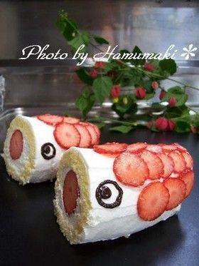 fish (koinobori) rolled cake for Children's Day