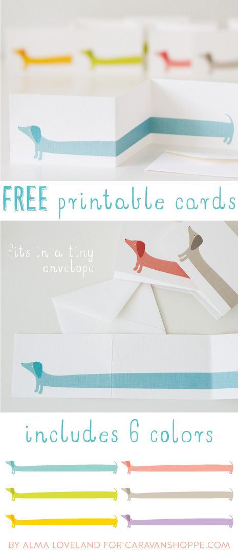 Free Printable: darling dachshund Z-fold note cards