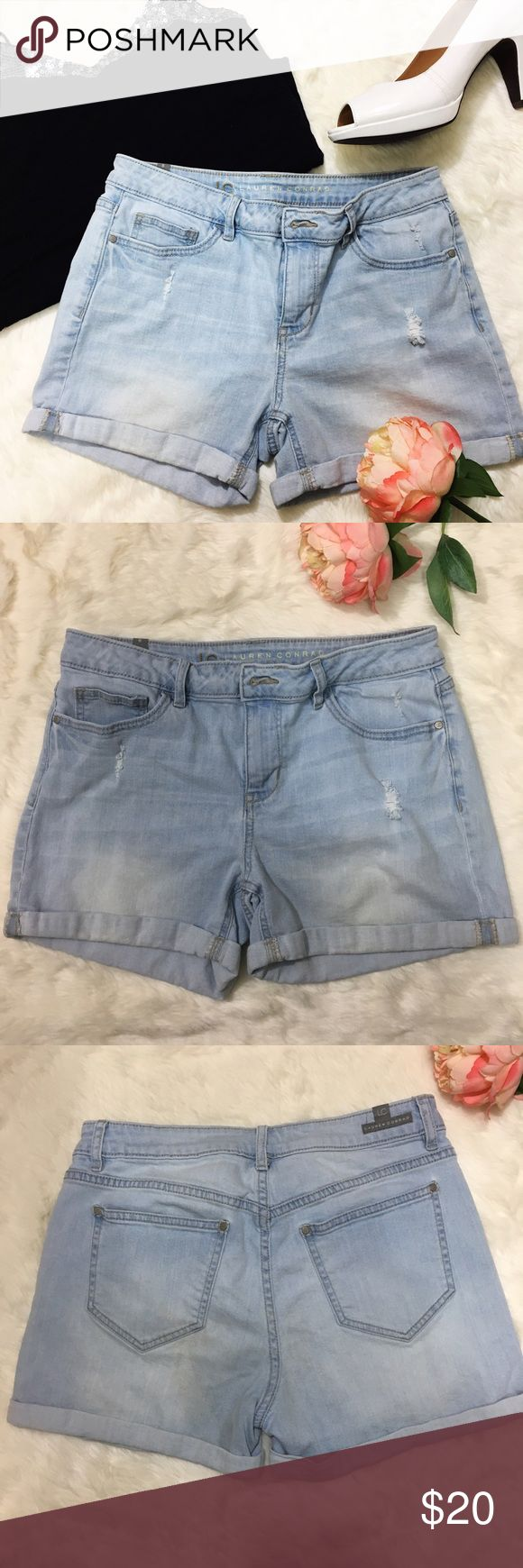 Lauren Conrad Denim Distressed Jean Short Shorts NWOT. Bought them, loved them so much but unfortunately they are too  short for my age 🙈 but super cute. They are soft ( not stiff). LC Lauren Conrad Shorts Jean Shorts