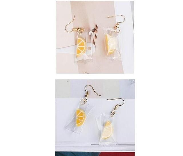 Lemon Candy earrings - How adorable are these Fruity Candy Drops? Having these hanging on your Ear lobes will Guarantee you to look Fresh and Cute! #kawaii #earrings #lemon