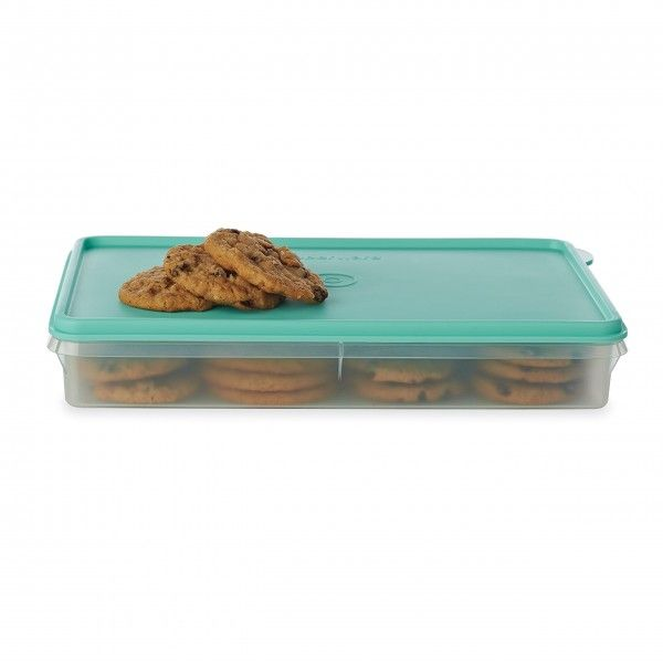 "Snack-Stor® Large Container:          This versatile container has many uses. It holds up to three Egg Tray Inserts. (not included) It's perfect for storing rolled sandwiches and wraps in the fridge, or keeping cookies and other baked treats fresh in the pantry. It's also ready to go with you to parties or buffets. Virtually airtight seal not only keeps everything fresh, it allows for stacking of other storage products on top without damaging the container's contents.2½ x 9 x 12""/6 x 23 x…"