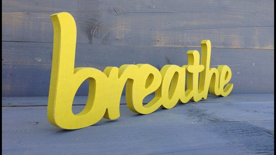 Handpainted wooden BREATHE sign wall decoration for by svetulka, $34.00
