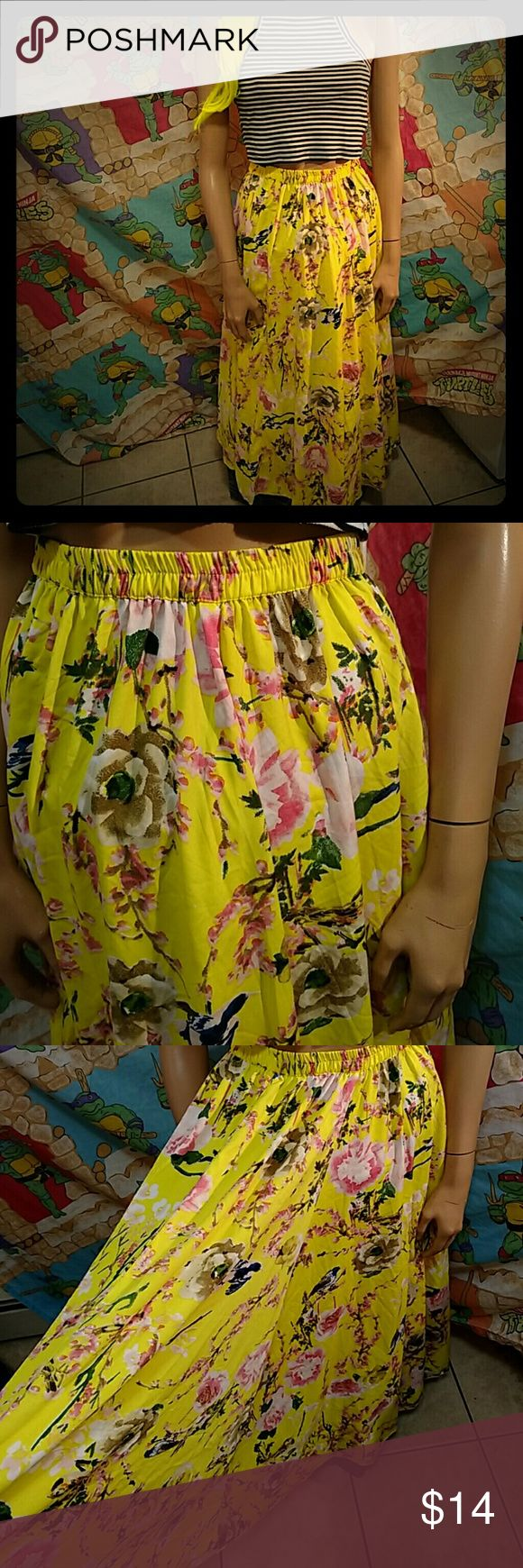 Printed neon flower skirt Size large waist 30 unstretched and 35 length. Its a neon yellow, very vibrant. Hard to see in pics but super cute. Pinned on mannequin. Skirts Maxi