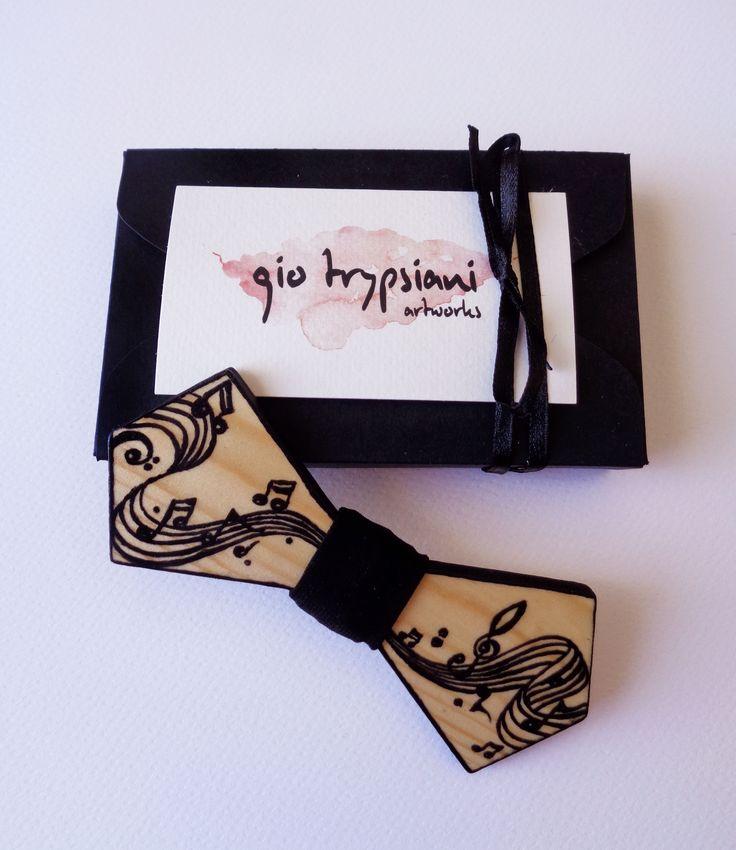 Handmade Wooden Bow Tie - Music