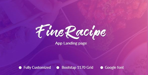 Fine Recipe App Landing page - Food Retail Download here : https://themeforest.net/item/fine-recipe-app-landing-page/19827287?s_rank=252&ref=Al-fatih
