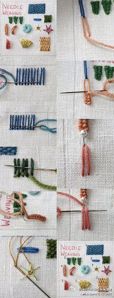 Embroidered handmade DIY method. Needle weaving