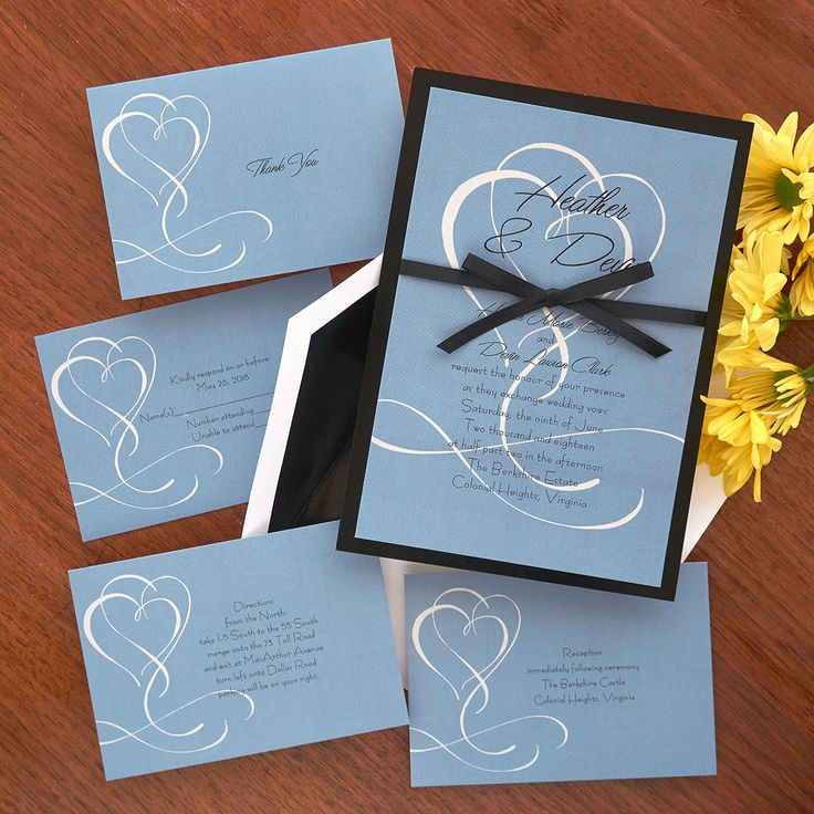 Flourished Double Heart Wedding Invitations The American Theamericanwedding