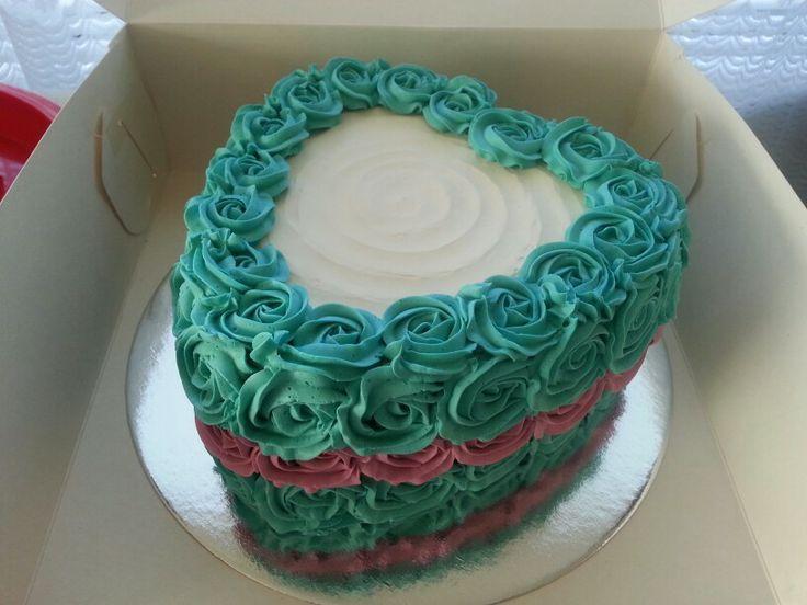 Heart shaped Rainbow Cake in Rosette Buttercream