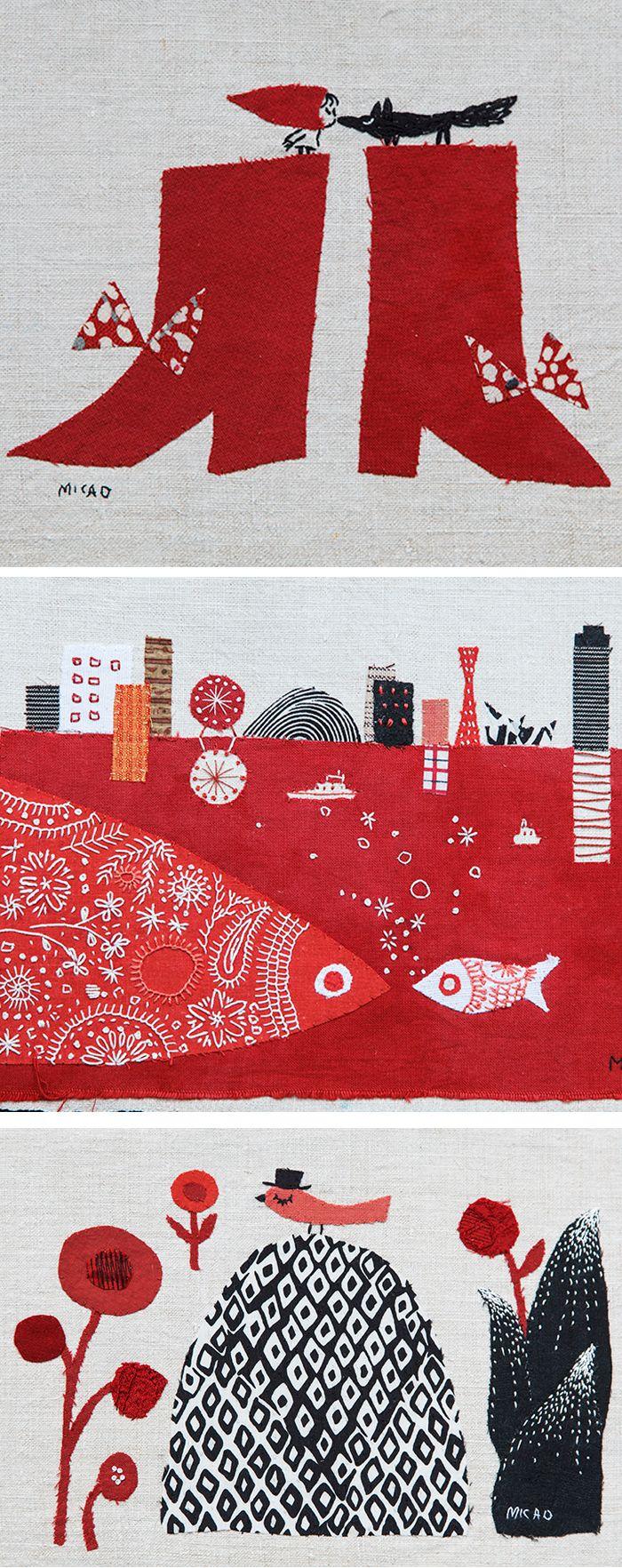 Appliqué illustrations by Mika Hirasa // embroidery // embroidered illustrations