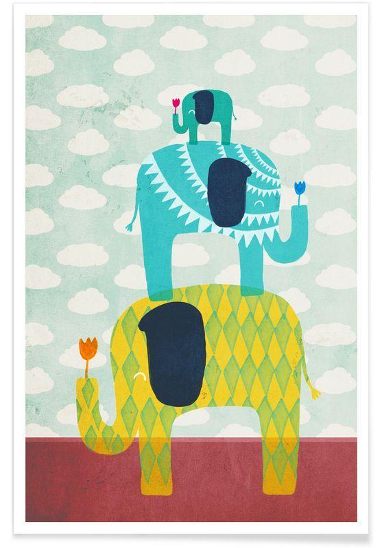 Funny Elephants als Premium Poster von treechild | JUNIQE