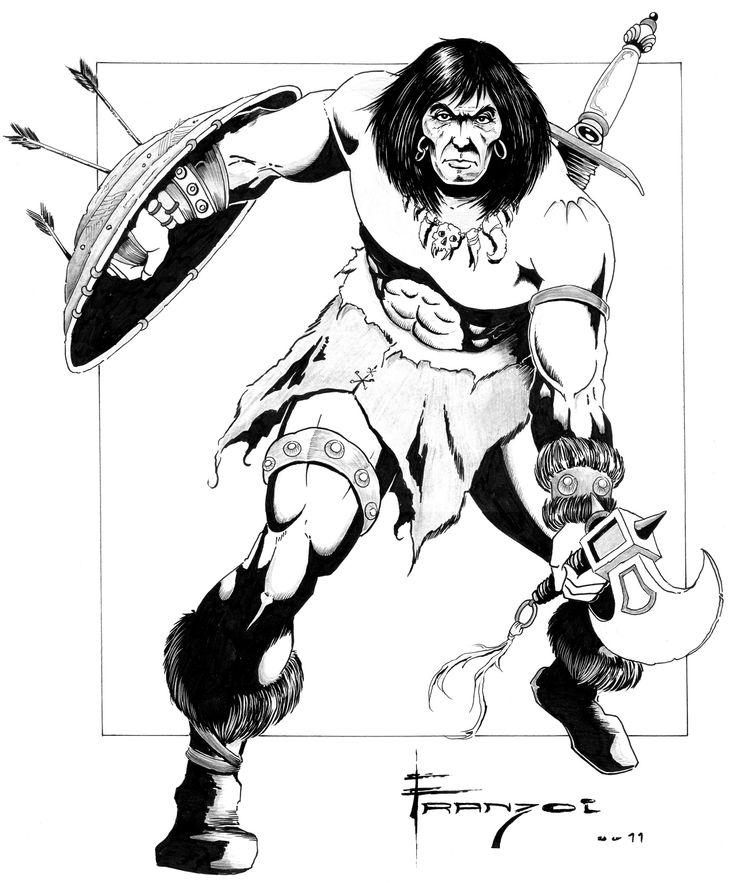 Conan - PB -  Assista o vídeo de criação deste desenho em: https://www.youtube.com/watch?v=NKktr77W0gg Este trabalho foi baseado em uma ilustração de Joe Jusko, um grande artista.