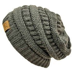 Slouchy Knit Oversized Beanie Cap Hat. Ribbed band, then in the round knit, a couple rows of purl, then rib again, and repeat. Super easy!