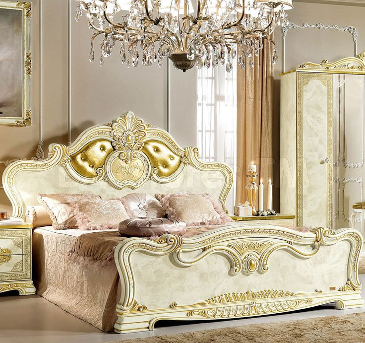 Leonardo Traditional Panel Bed   Ivory and Gold by ESF