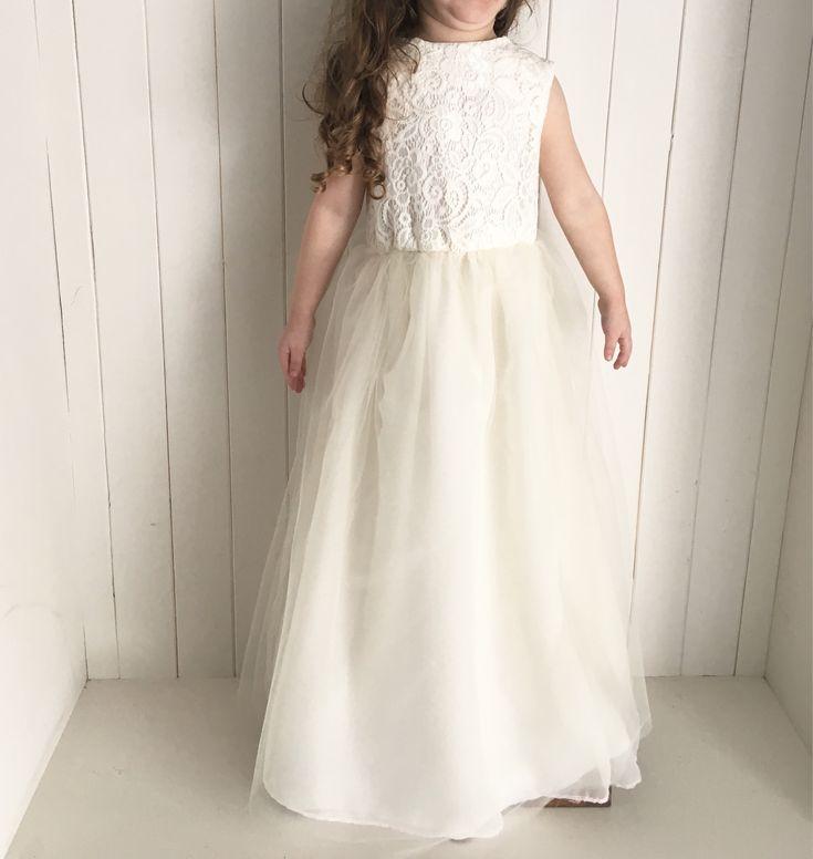 ivory flower girl dress, ivory dress, Flower girl dress, lace flower girl dress, flower girl, rustic flower girl dress, rustic wedding by BubbalooeyBoutique on Etsy