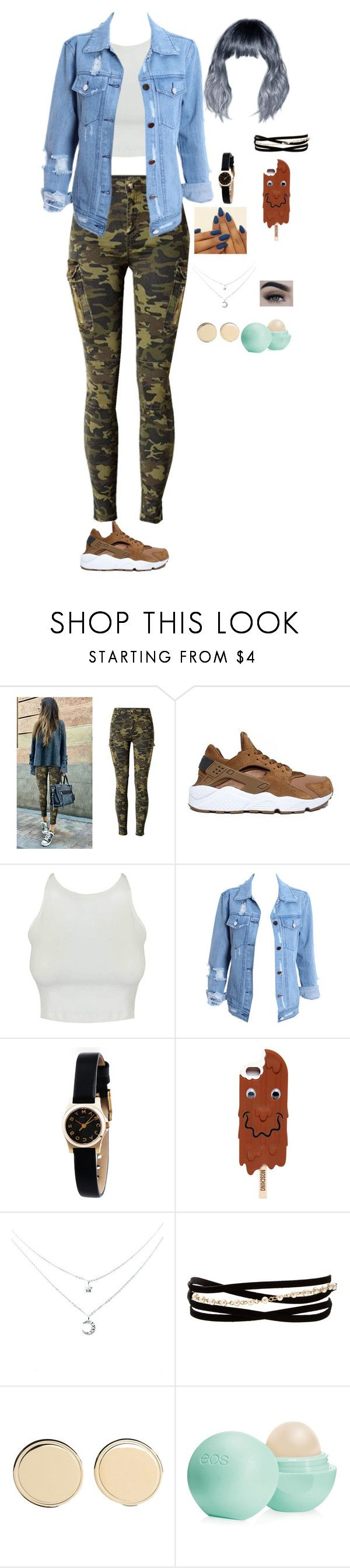 """Sin título #328"" by alyari on Polyvore featuring moda, NIKE, Marc by Marc Jacobs, Moschino, Kenneth Jay Lane, Givenchy y Eos"