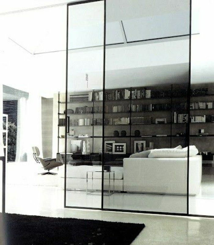 porte coulissante en verre, chambre moderne , déco blanc-noir, belle idée, créative