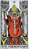 the hierophant  as been previously seen in the Empress and Emperor; the archetype of the spiritual world is the Hierophant. This is the card of beliefs, both religious and otherwise, though it does tend to focus on the religious and spiritual aspects because the Hierophant himself is often depicted as a holy man. Indeed, in some decks this card is known as the Pope or High Priest. But in actuality, a Hierophant is a person who holds 'forbidden' or 'secret' knowledge. While this could easily…