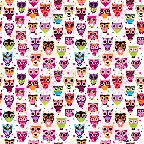 """Descargue el vector libre de derechos """"Seamless colourfull owl pattern for kids in vector"""" creado por designalicious al precio más bajo en Fotolia.com. Explore nuestro económico banco de imágenes para encontrar el vector perfecto para sus proyectos de marketing."""