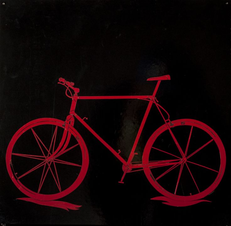 Red Bicycle Hand-cut Vinyl on Board