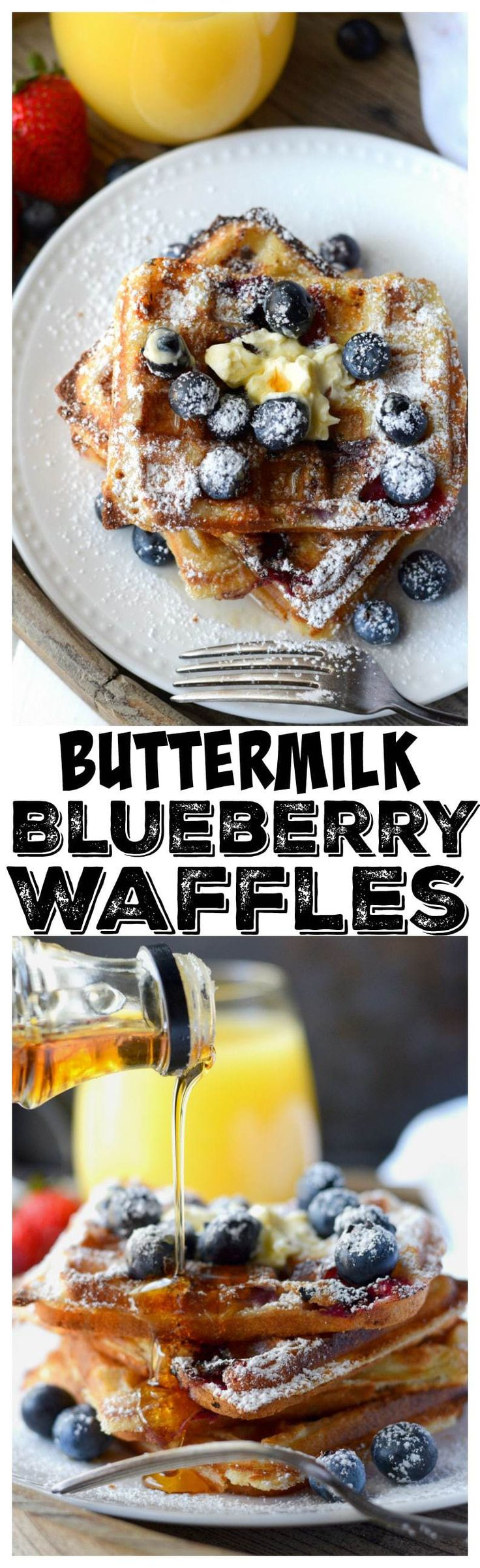 These buttermilk blueberry waffle recipe is light and fluffy on the inside and crispy on the outside, the perfect combination. You need to try these!
