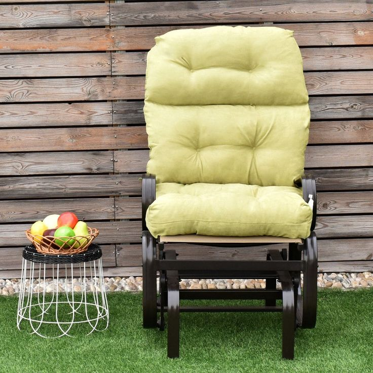 Costway 44'' High Back Chair CushionTufted Pillow Indoor Outdoor Swing Glider Seat Green, Outdoor Cushion