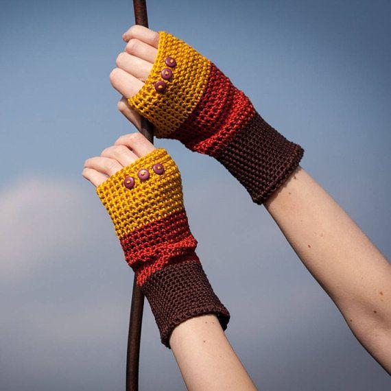 Brown Orange Yellow Fingerless Gloves / 100% Cotton by RUKAMIshop