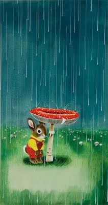 """Richard Scarry illustration from the children's book, """"I Am A Bunny""""."""