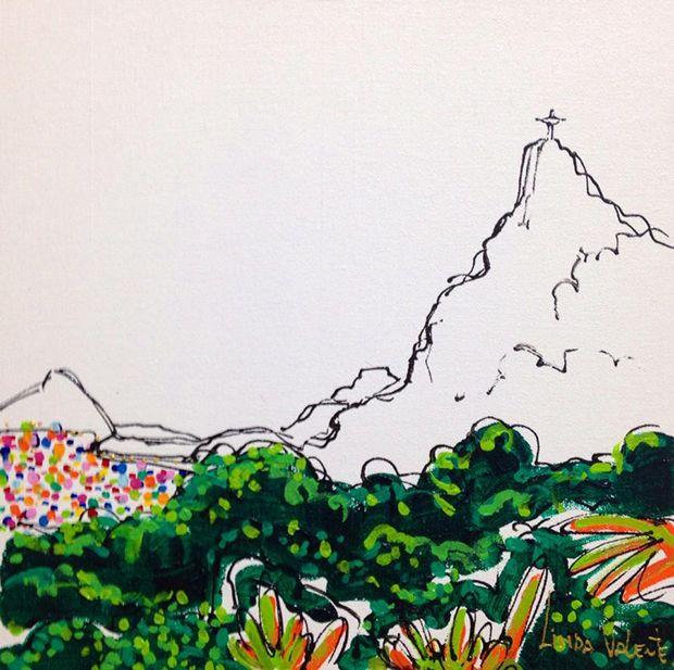 Ilustrações coloridas inspiradas no Rio de Janeiro por Linda Valente;