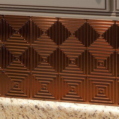 "Fasade Miniquattro 18.25"" x 24.25"" PVC Backsplash Panel Kit in Oil Rubbed Bronze"