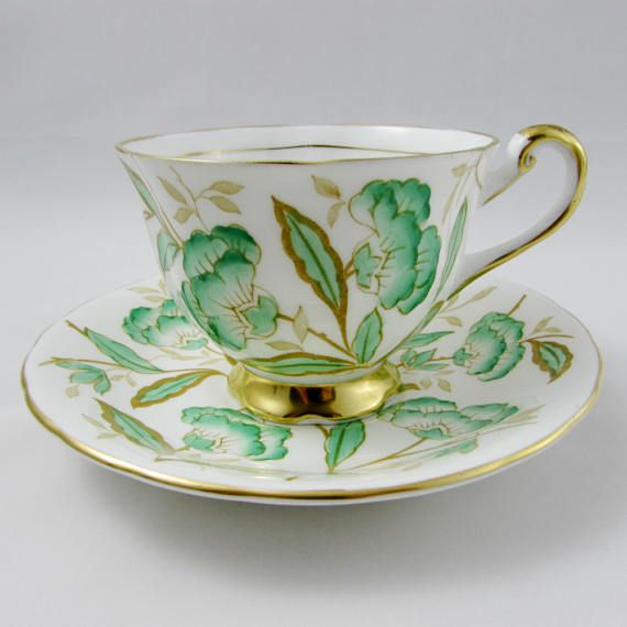 Royal Chelsea Tea Cup and Saucer with Green Flowers Vintage
