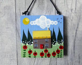 Little House,Door hanger,Christmas gift for her,Folk art,Wall art,Stocking filler for her,Birthday gift,housewarming gift, New Home gift,