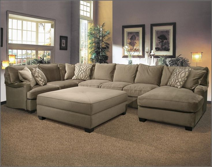 u shaped fabric sectional sofa with large ottoman on super elegant rug design for living room